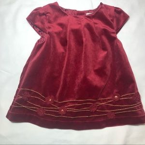 Heirlooms Red Velvet Infant Dress w/Gold Accents